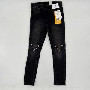 H&M Black Denim Leggings with Cats Girls 6 - 7 Y
